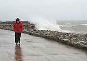 26/01/2016 Man out walking in the flooding in Salthill in storm Jonas hits the West coast. Photo:Andrew Downes, XPOSURE .Photo:Andrew Downes