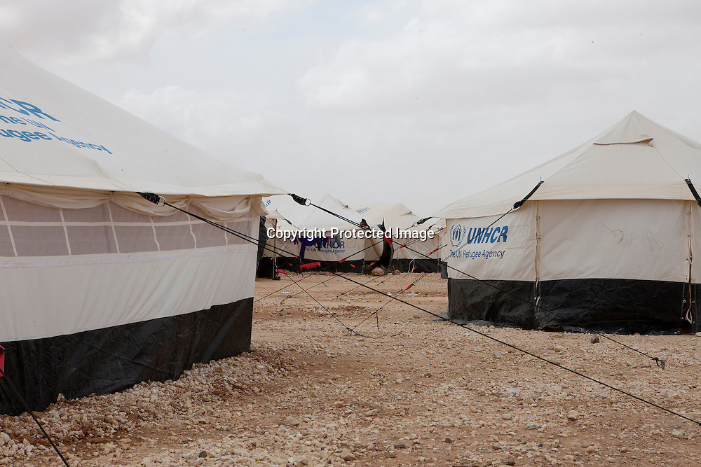 Tentes donated by the UN High Commissioner for the Refugees in the second largest refugee camp - Zaatari Refugee Camp - home of over 100 thousand Syrian refugees located Mafraq, Jordan