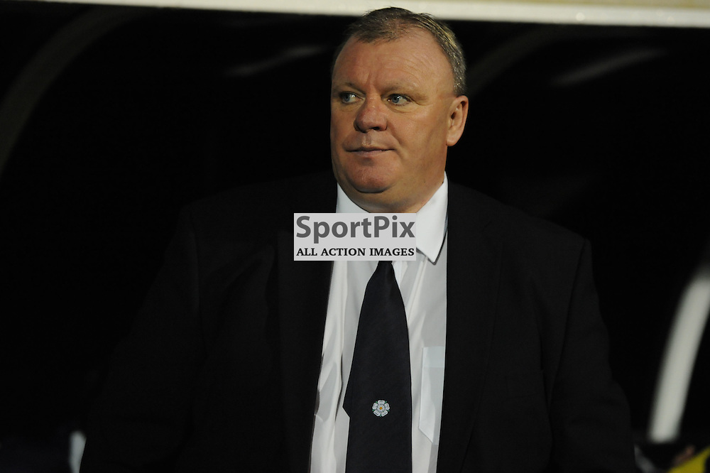 New Leeds manager Steve Evans before his sides match against Fulham in the Sky Bet Championship at Craven Cottage on the 21st October 2015.