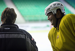 Mike Posma and Player Nik Zupancic at second ice hockey practice of HDD Tilia Olimpija on ice in the new season 2008/2009, on August 19, 2008 in Hala Tivoli, Ljubljana, Slovenia. (Photo by Vid Ponikvar / Sportal Images)