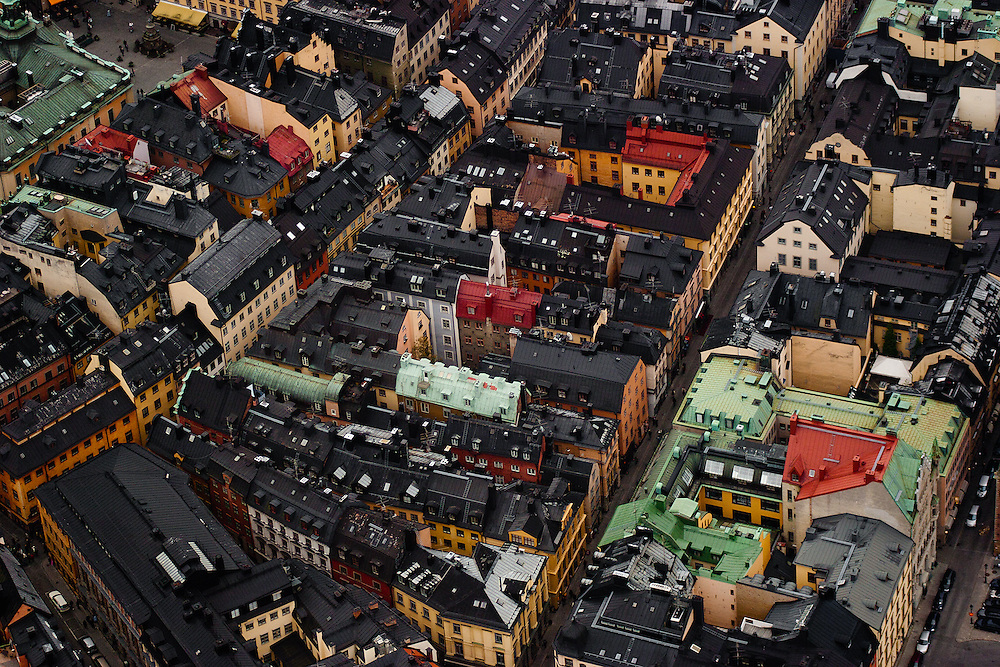 The views of Gamla Stan (Old Town) from a helicopter ride