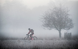 © Licensed to London News Pictures. 06/11/2017. London, UK. A cyclist passes through a frosty Richmond Park at first light. Parts of the UK are experiencing freezing temperatures today. Photo credit: Peter Macdiarmid/LNP
