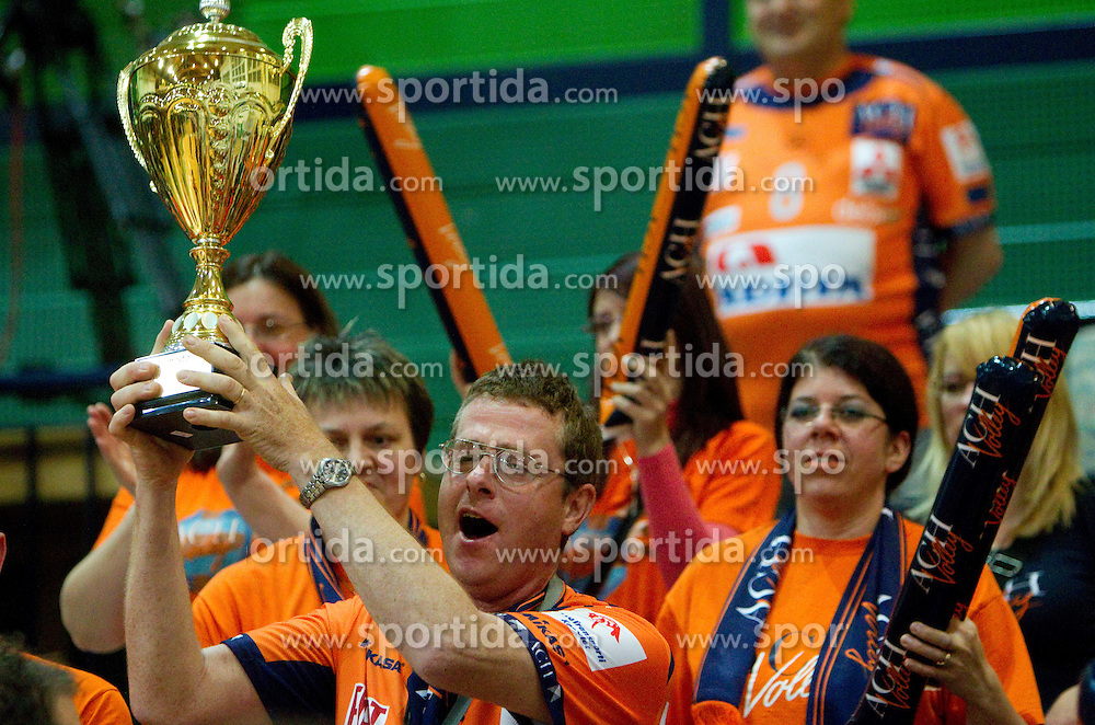 Fans of ACH celebrate after the volleyball match between ACH Volley Bled and UKO Kropa at final of Slovenian National Championships 2011, on April 27, 2011 in Arena SGTS Radovljica, Slovenia. ACH Volley defeated Kropa 3-0 and became Slovenian National Champion 2011. (Photo By Vid Ponikvar / Sportida.com)