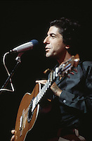 American singer-songwriter Leonard Cohen on stage, circa 1975.