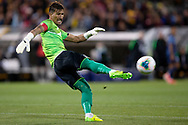 CANBERRA, AUSTRALIA - OCTOBER 10: Nepal goalkeeper Kiran Chemjong (16) clears the ball during the FIFA World Cup Qualifier soccer match between Australia and Nepal on October 10, 2019 at GIO Stadium in Canberra, Australia. (Photo by Speed Media/Icon Sportswire)
