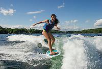 Wake surfing fun on Lake Winnisquam.   (Karen Bobotas/for the Laconia Daily Sun)