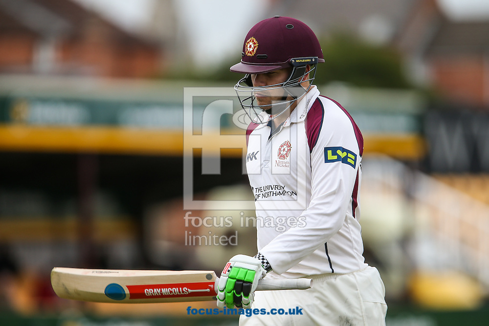 Adam Rossington of Northamptonshire County Cricket Club looks disconsolate after being dismissed for 95 runs during the LV County Championship Div Two match at the County Ground, Northampton, Northampton<br /> Picture by Andy Kearns/Focus Images Ltd 0781 864 4264<br /> 12/04/2015