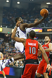 November 1, 2010; Sacramento, CA, USA;  Sacramento Kings point guard Tyreke Evans (13) shoots past Toronto Raptors shooting guard DeMar DeRozan (10) during the first quarter at the ARCO Arena.