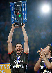 02-05-2010 VOLLEYBAL: FINAL 4 CHAMPIONS LEAGUE: LODZ<br /> Matey Kaziyski  of Trentino  celebrates with a Trophy at final ceremony after the  final match<br /> ©2010- FRH nph / Vid Ponikvar