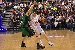 Vlado Ilievski (R) and Pau Ribas at basketball match of 6th Round of Group C in Euroleague between KK Union Olimpija and DKV Joventut, on December 4, 2008 in Arena Tivoli, Ljubljana, Slovenia. Union Olimpija : DKV Joventut 65:86. (Photo by Vid Ponikvar / Sportida)