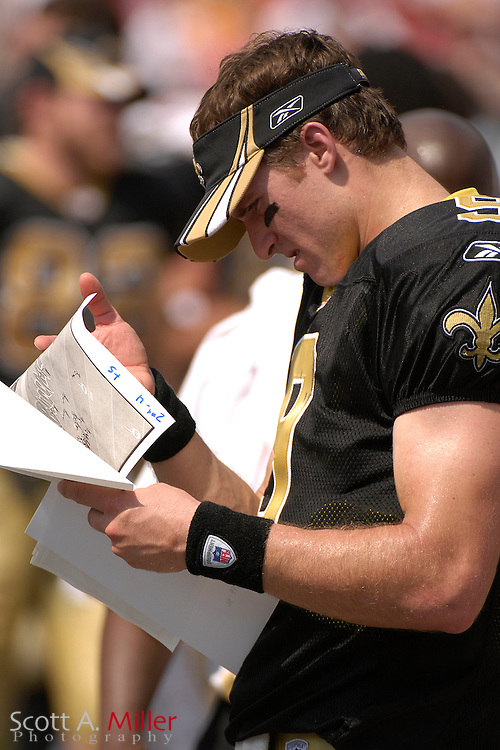 September 16, 2007; Tampa, FL, USA; New Orleans Saints quarterback Drew Brees during his team's game against the Tampa Bay Buccaneers at Raymond James Stadium. Tampa Bay won the game 31-14...©2007 Scott A. Miller