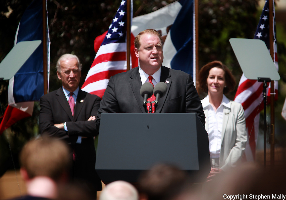 Iowa Governor Chet Culver speaks at a campaign rally during a visit by Vice President Joe Biden at Green Square Park in Cedar Rapids, Iowa on Tuesday, May 18, 2010.