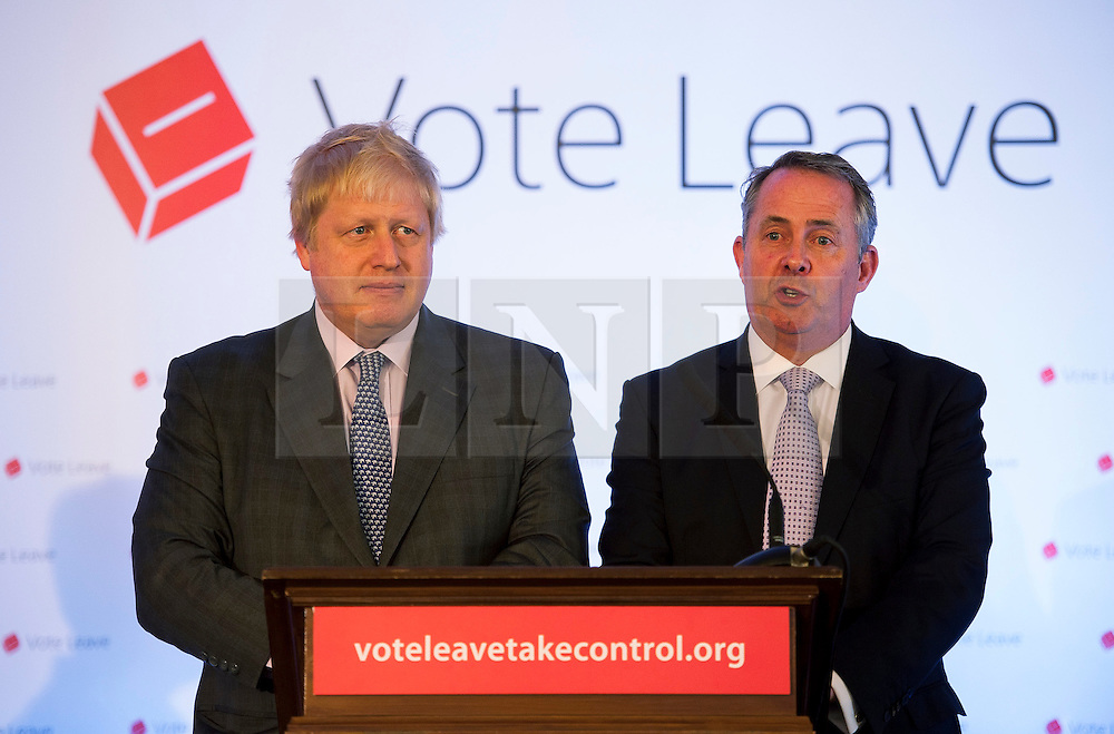 © Licensed to London News Pictures.14/05/2016. Bristol, UK.  BORIS JOHNSON in Bristol with the Vote Leave battle bus to give a talk with Liam Fox MP in support of the UK leaving the EU. Photo credit : Simon Chapman/LNP