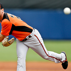 Mar 2, 2013; Port Charlotte, FL, USA; Baltimore Orioles starting pitcher Brian Matusz (17) throws against the Tampa Bay Rays during the bottom of the third inning of a spring training game at Charlotte Sports Park. Mandatory Credit: Derick E. Hingle-USA TODAY Sports