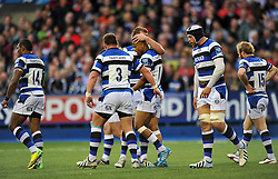 Anthony Watson (Bath) is congratulated on his try - Photo mandatory by-line: Patrick Khachfe/JMP - Tel: Mobile: 07966 386802 23/05/2014 - SPORT - RUGBY UNION - Cardiff Arms Park, Cardiff - Bath Rugby v Northampton Saints - Amlin Challenge Cup Final.
