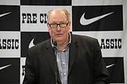Meet director Tom Jordan during a press conference prior to the 45th Prefontaine Classic, Saturday, June 29, 2019, in San Mateo, Calif.