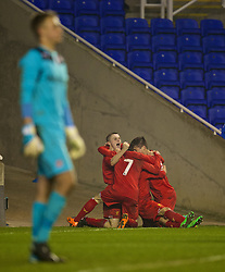 READING, ENGLAND - Wednesday, March 12, 2014: Liverpool's Daniel Trickett-Smith celebrates scoring the third goal against Reading in the first half of extra-time during the FA Youth Cup Quarter-Final match at the Madejski Stadium. (Pic by David Rawcliffe/Propaganda)