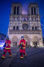 View from inside the Security area during the Notre Dame Cathedral's fire - Paris - 15 April 2019