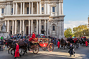 Aldermen - The new Lord Mayor (Peter Estlin, the 691st) was sworn in yesterday. To celebrate, today is the annual Lord Mayor's Show. It includes Military bands, vintage buses, Dhol drummers, a combine harvester and a giant nodding dog in the three-mile-long procession. It brings together over 7,000 people, 200 horses and 140 motor and steam-driven vehicles in an event that dates back to the 13th century. The Lord Mayor of the City of London rides in the gold State Coach.