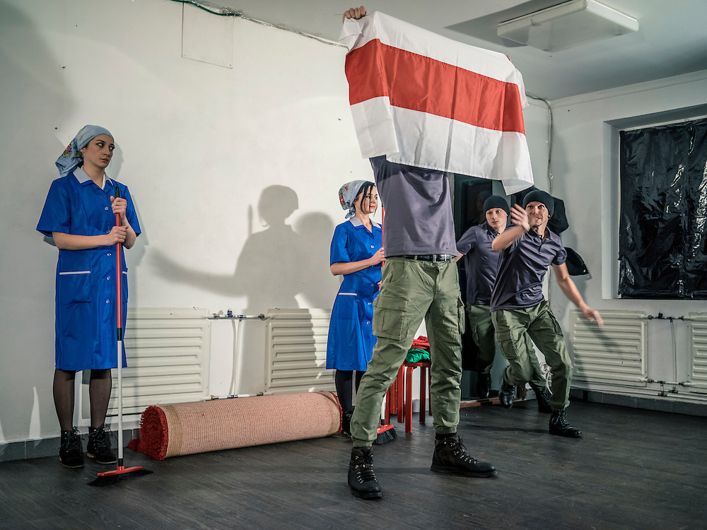 The Belarus Free Theatre performs at a secret location on Sunday, October 11, 2015 in Minsk, Belarus. The underground theater group operates in defiance of hardline authorities, with blatantly political and otherwise controversial subject matter, which has in the past lead to police raids on performances, arrests of members, and for its founders to go into exile.