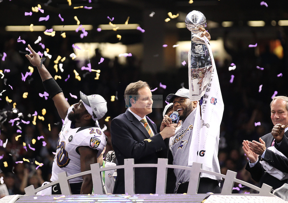 Ray Lewis (52) of the Baltimore Ravens celebrates with the Vince Lombardi Trophy after defeating the San Francisco 49ers during the NFL Super Bowl XLVII football game in New Orleans on Feb. 3, 2013. The Ravens won the game, 34-31.  (Photo by Jed Jacobsohn)