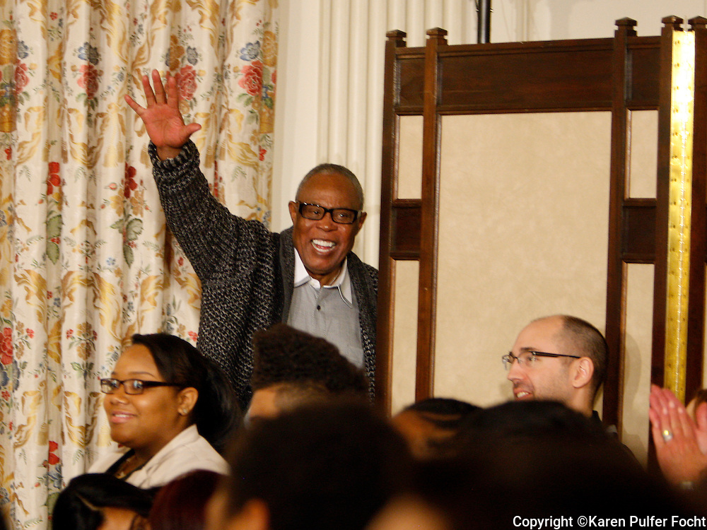 April 9, 2013 - Sam Moore waves  to the crowd in attendance at a Memphis music workshop in the State Dining Room at the White House onTuesday.  Sam was half of the Sam and Dave soul and rhythm and blues duo known for many hits, including Soul Man.  (