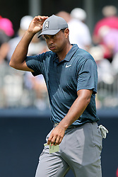 August 9, 2018 - St. Louis, Missouri, United States - Tiger Woods reacts after putting the 9th green during the first round of the 100th PGA Championship at Bellerive Country Club. (Credit Image: © Debby Wong via ZUMA Wire)