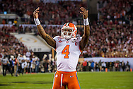 Deshaun Watson gets fans fired up prior to the start of the national championship game at Raymond James stadium in Tampa.