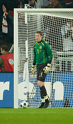 MONCHENGLADBACH, GERMANY - Wednesday, October 15, 2008: Wales' goalkeeper Wayne Hennessey looks dejected after conceding a goal to Germany during the 2010 FIFA World Cup South Africa Qualifying Group 4 match at the Borussia-Park Stadium. (Photo by David Rawcliffe/Propaganda)