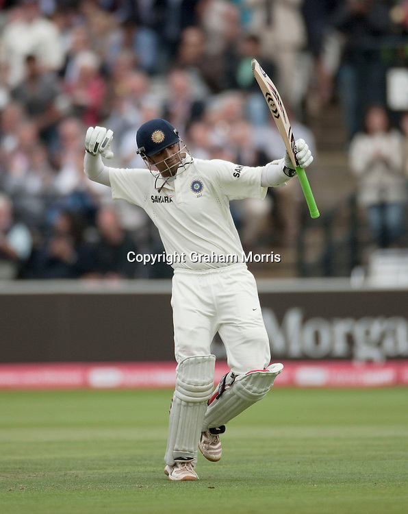 Rahul Dravid celebrates his century during the first npower Test Match between England and India at Lord's Cricket Ground, London.  Photo: Graham Morris (Tel: +44(0)20 8969 4192 Email: sales@cricketpix.com) 23/07/11