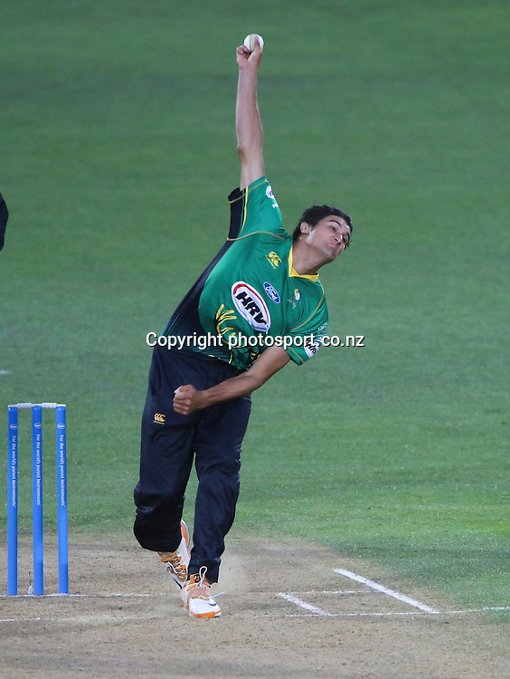 Central's Andrew Matheson bowls in the HRV Cup T20 cricket match between the Central Districts Stags and the Wellington Firebirds at McLean Park, Napier, New Zealand. Friday, 07 December, 2012. Photo: John Cowpland / photosport.co.nz