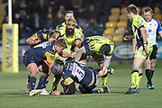 Will Spencer is tackled during the Aviva Premiership match between Worcester Warriors and Sale Sharks at Sixways Stadium, Worcester, United Kingdom on 1 December 2017. Photo by Daniel Youngs.