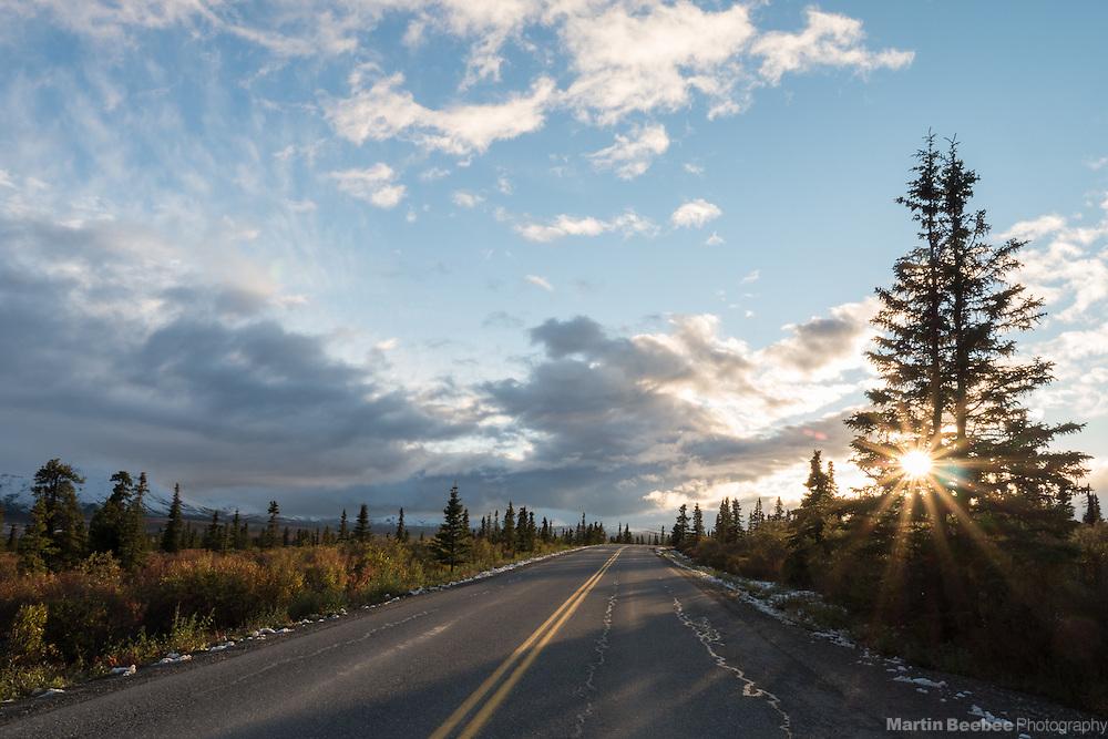 Sunset over Park Road, Denali National Park, Alaska