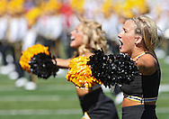 September 11 2010: An Iowa cheerleader before the first half of the NCAA football game between the Iowa State Cyclones and the Iowa Hawkeyes at Kinnick Stadium in Iowa City, Iowa on Saturday September 11, 2010. Iowa defeated Iowa State 35-7.
