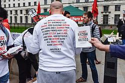Muslim anti-fascists demonstrating against Pegida (Patriotic Europeans against the Islamisation of the West)  in Whitehall. Feb 2016 UK