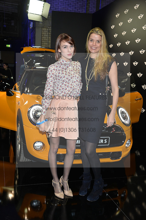 Monday 18th November 2013 saw a host of London hipsters, social faces and celebrities, gather together for the much-anticipated World Premiere of the brand new MINI.<br /> Attendees were among the very first in the world to see and experience the new MINI, exclusively revealed to guests during the party. Taking place in the iconic London venue of the Old Sorting Office, 21-31 New Oxford Street, London guests enjoyed a DJ set from Little Dragon, before enjoying an exciting live performance from British band Fenech-Soler.<br /> Picture Shows:-ELLA CATLIFF, SABINE ROEMER