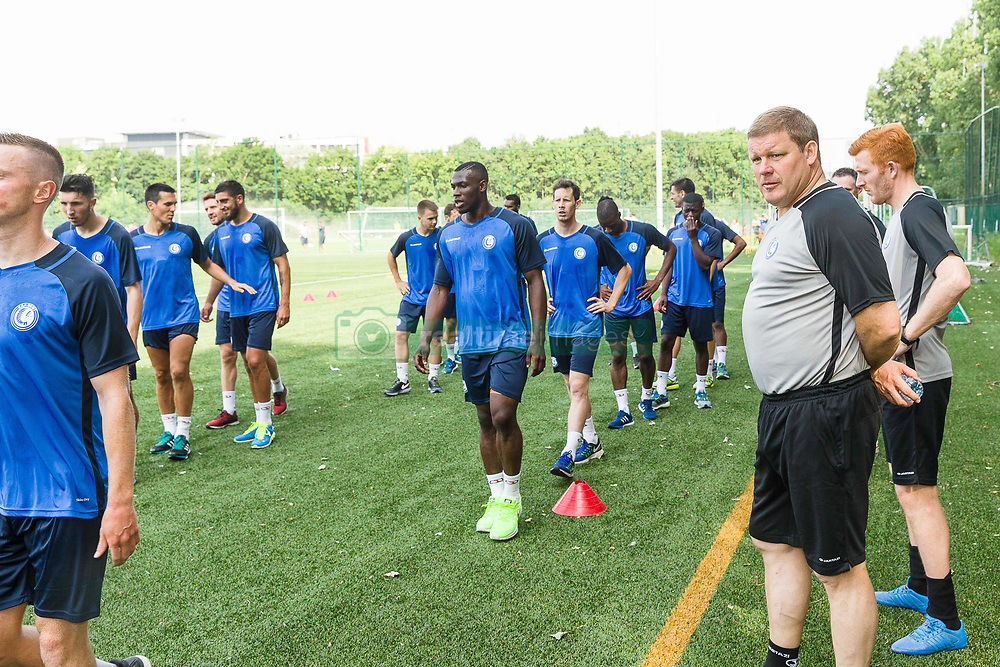 June 22, 2017 - Gent, BELGIUM - Illustration picture shows Gent's players, Gent's head coach Hein Vanhaezebrouck and Gent's assistant coach Bernd Thijs the first training session for the new 2017-2018 season of Jupiler Pro League team KAA Gent, in Gent, Thursday 22 June 2017. BELGA PHOTO JAMES ARTHUR GEKIERE (Credit Image: © James Arthur Gekiere/Belga via ZUMA Press)