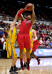 March 20, 2010; Stanford, CA, USA; Rutgers Scarlet Knights guard Khadijah Rushdan (1) shoots over Iowa Hawkeyes guard Jaime Printy (24) during the second half in the first round of the 2010 NCAA womens basketball tournament at Maples Pavilion.  Iowa defeated Rutgers 70-63.