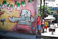 On the streets favelas in Rio de Janeiro, a corner in Complexo do Alemao.