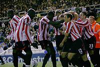 Photo: Steve Bond.<br />Birmingham City v Sunderland. The FA Barclays Premiership. 15/08/2007. Michael Chopra (buried) is congratulated on his equaliser