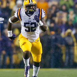 Sep 21, 2013; Baton Rouge, LA, USA; LSU Tigers linebacker Kendell Beckwith (52) against the Auburn Tigers during the first half of a game at Tiger Stadium. Mandatory Credit: Derick E. Hingle-USA TODAY Sports
