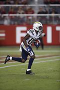 Los Angeles Chargers wide receiver J.J. Jones (89) in action during the 2018 NFL preseason week 4 football game against the San Francisco 49ers on Thursday, Aug. 30, 2018 in Santa Clara, Calif. The Chargers won the game 23-21. (©Paul Anthony Spinelli)