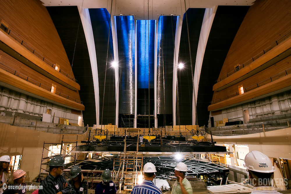On a tour of the inside of the Kauffman Center as construction progresses.