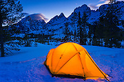 Winter camp at dusk under the Tetons, Grand Teton National Park, Wyoming USA