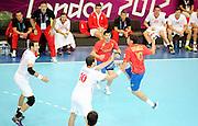 DESCRIZIONE : Handball Jeux Olympiques Londres <br /> GIOCATORE : Aguirrezabalaga Mikel ESP Gojun Jakob  CRO<br /> SQUADRA : Espagne HOMME<br /> EVENTO :  Handball Jeux Olympiques<br /> GARA : Croatie Espagne<br /> DATA : 06 08 2012<br /> CATEGORIA : handball Jeux Olympiques<br /> SPORT : HANDBALL<br /> AUTORE : JF Molliere <br /> Galleria : France JEUX OLYMPIQUES 2012 Action<br /> Fotonotizia : France Handball Homme Jeux Olympiques Londres premier tour Copper Box<br /> Predefinita :