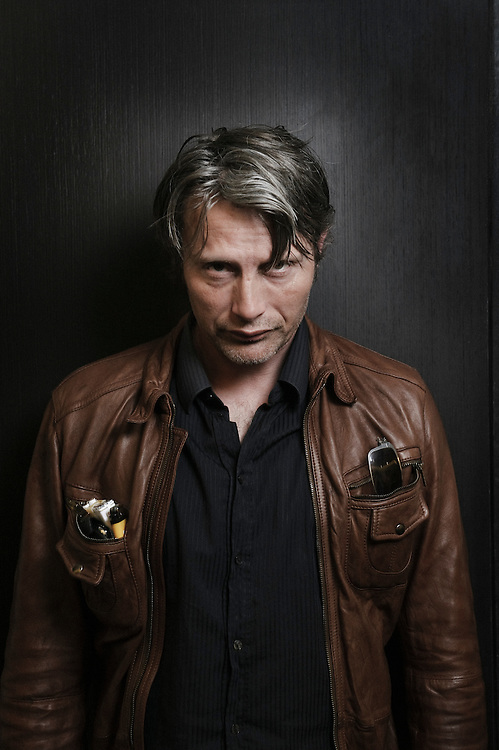 """Danish actor Mads Mikkelsen annoucing the upcoming shooting of """"The Nazi Officer's Wife"""" by Barthelemy Grossmann"""" at the 63rd Cannes Film Festival. France. 16 May 2010. Photo: Antoine Doyen"""