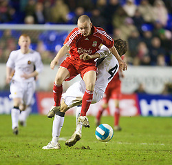 WARRINGTON, ENGLAND - Tuesday, February 26, 2008: Liverpool's Jay Spearing and Manchester United's Gerard Pique during the FA Premiership Reserves League (Northern Division) match at the Halliwell Jones Stadium. (Photo by David Rawcliffe/Propaganda)
