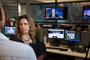 NITV Australian National Indigenous Television Story.<br /> NITV Station Mananger Tanya Denning speaks to marketing mananger  Chris Bonney on the NITV news production floor of the Sydney office.