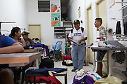 Zachariah, a community outreach worker, visits a Bolivian immigrant sewing workshop to learn if they have any problems and also to inform the employees of what CAMI offers to help. Some of the services offered by CAMI include; language courses, legal advice and skills workshops such as textiles.