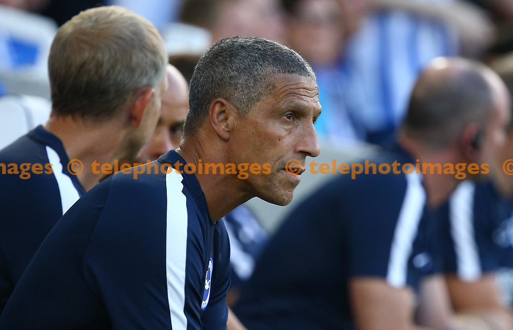 Brighton manager Chris Houghton during the pre season friendly between Brighton and Hove Albion and FC Nantes at the American Express Community Stadium in Brighton. 03 Aug 2018